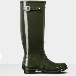 HUNTER Original Tall Gloss Rain Boot Dark Olive
